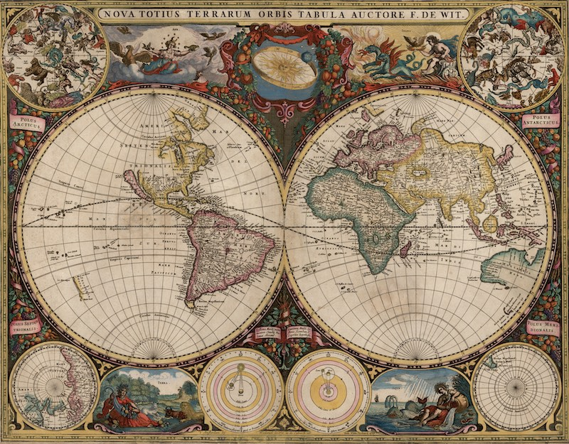 World map after Columbus discoveries
