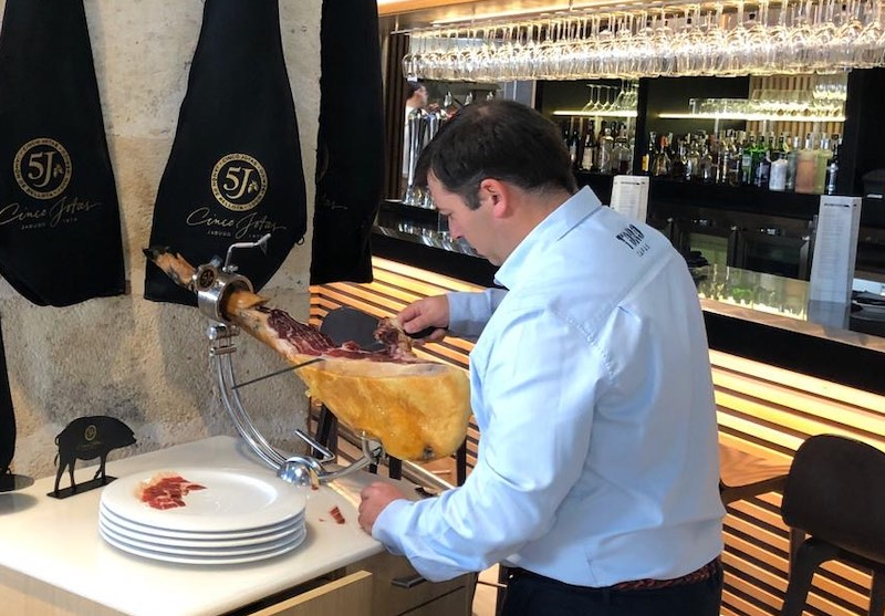 hand sliced jamon iberico served at tasting during a Sherry wine tour
