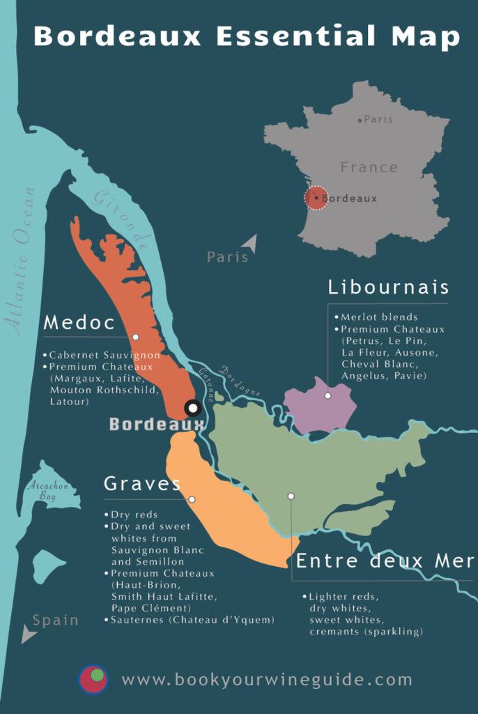 map of Bordeaux wine region