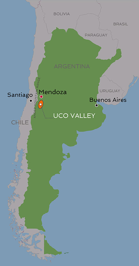 Uco Valley within Argentina map